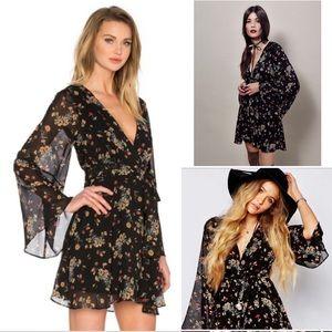 Free People Lilou mini dress black floral 174